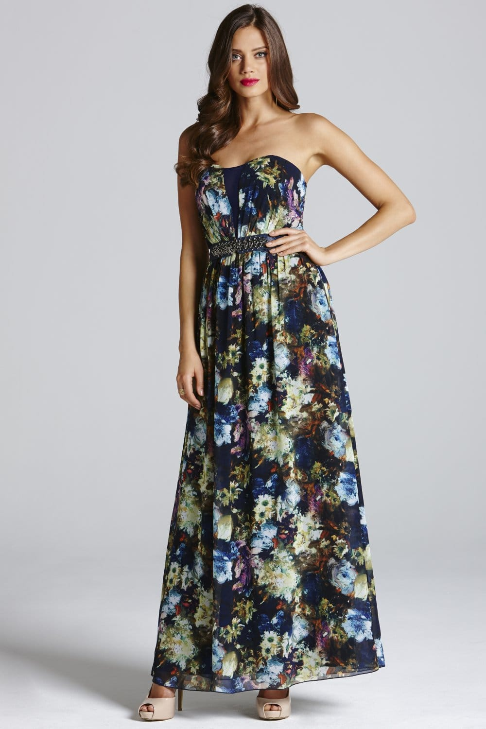 Painted Floral Chiffon Bandeau Maxi Dress