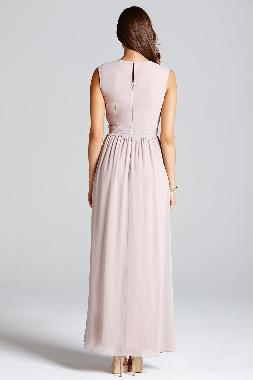 Nude Floral Embellished Bandeau Maxi Dress - from Little