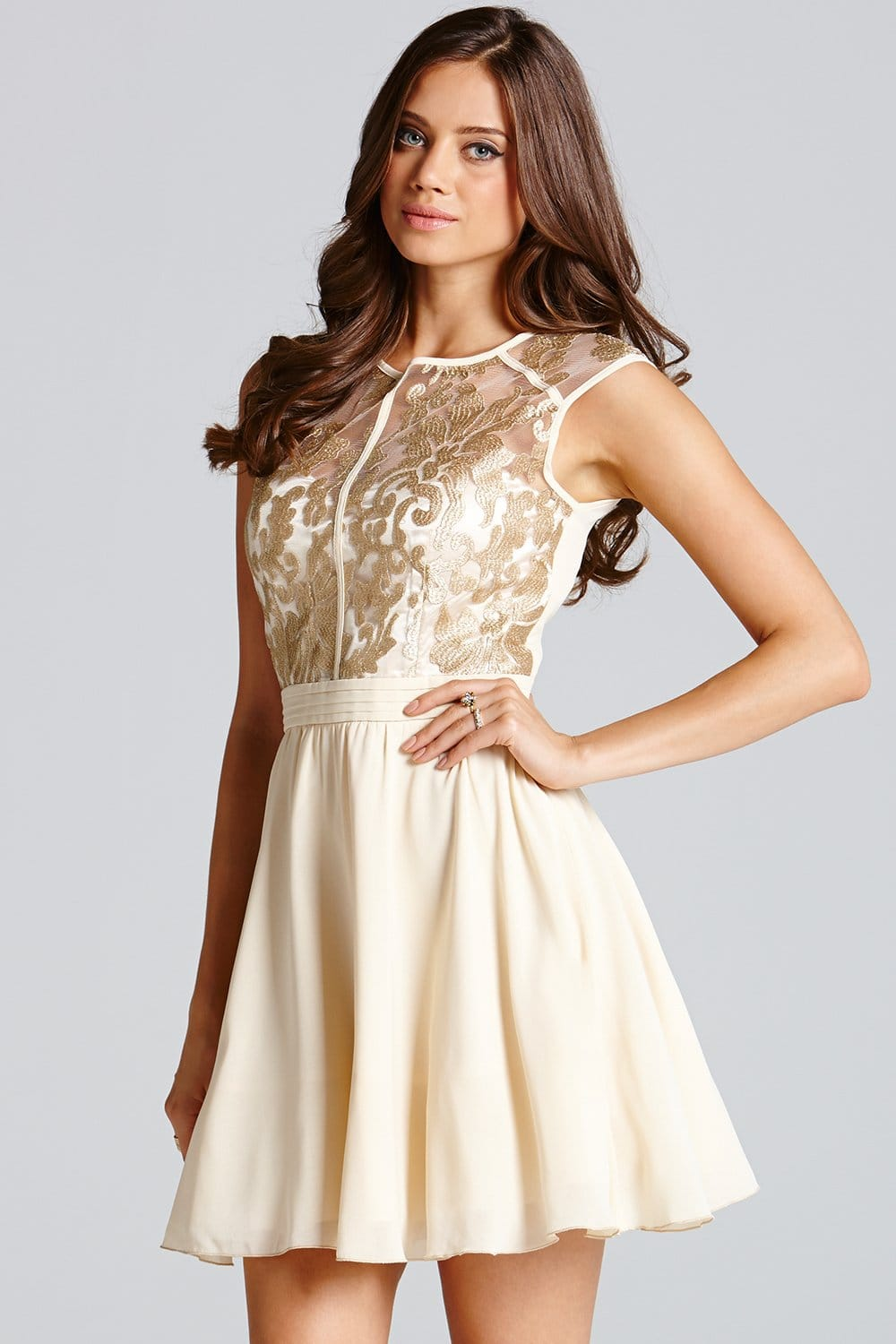 Cream and Gold Floral Lace Prom Dress - from Little Mistress UK
