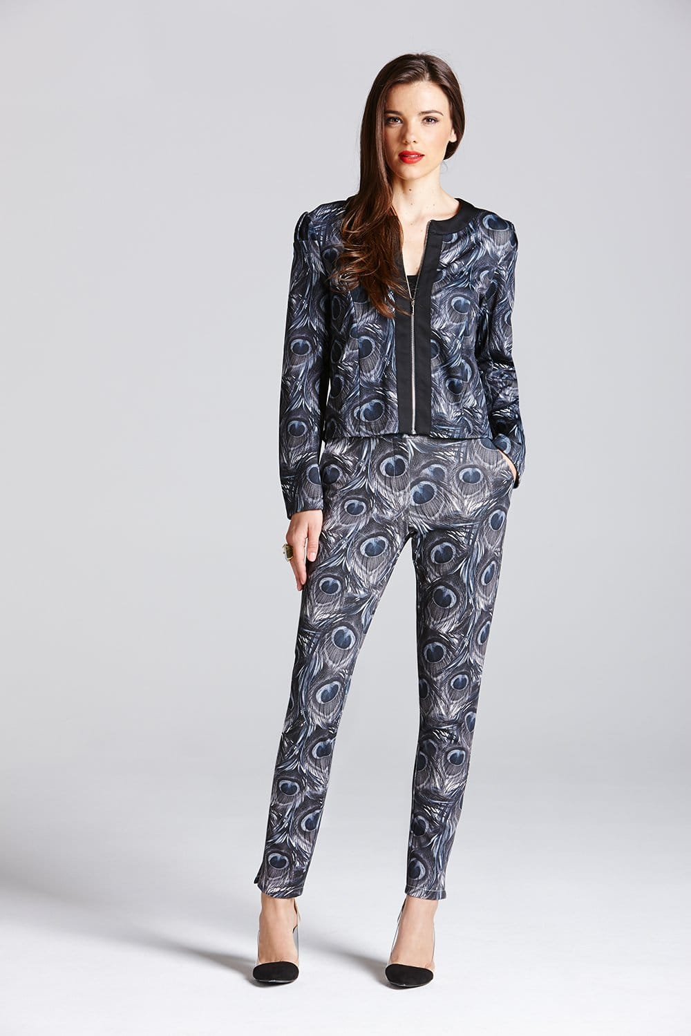 b43d844349 Outlet Paper Dolls Grey Peacock Feather Trousers - Outlet Paper ...