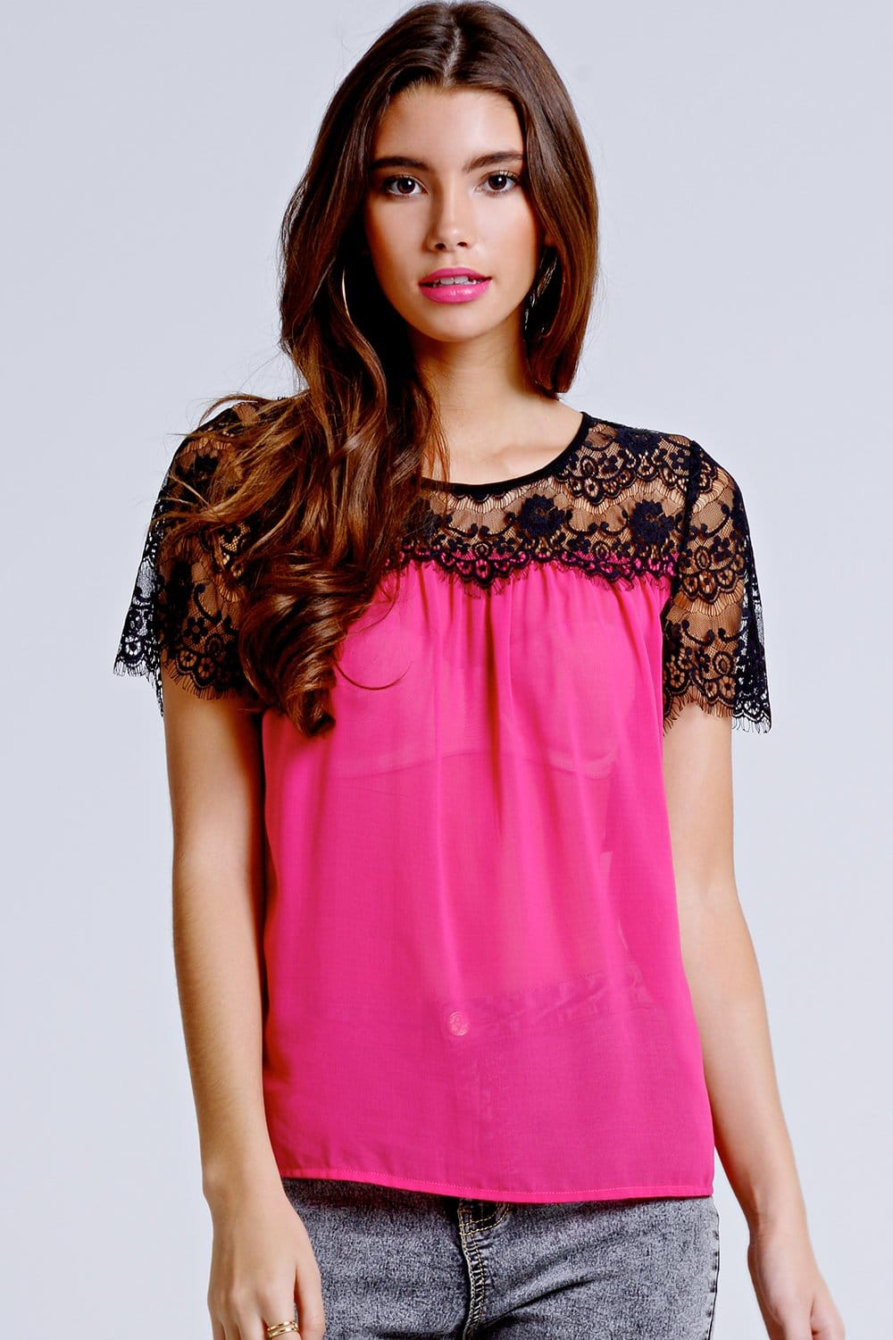 Girls on Film Cherry Pink Lace Shoulder Top - Girls On ...