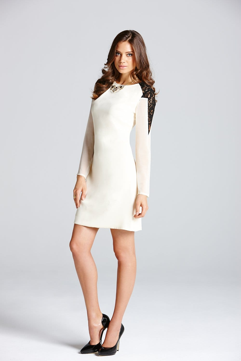 Cream Lace Shoulder Long Sleeve Tunic Dress - from Little Mistress UK