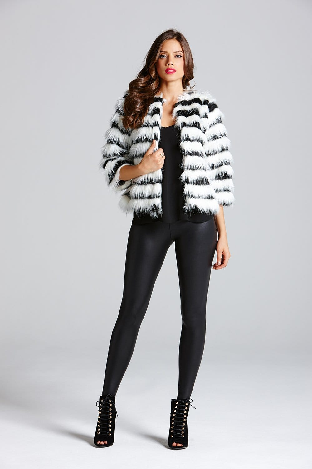 Little Mistress Black and White Cropped Faux Fur Jacket - Little ...