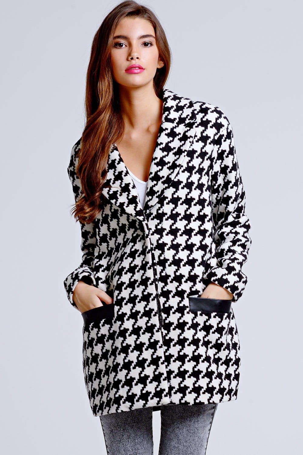 Girls On Film Black And White Dogtooth Coat Girls On Film From