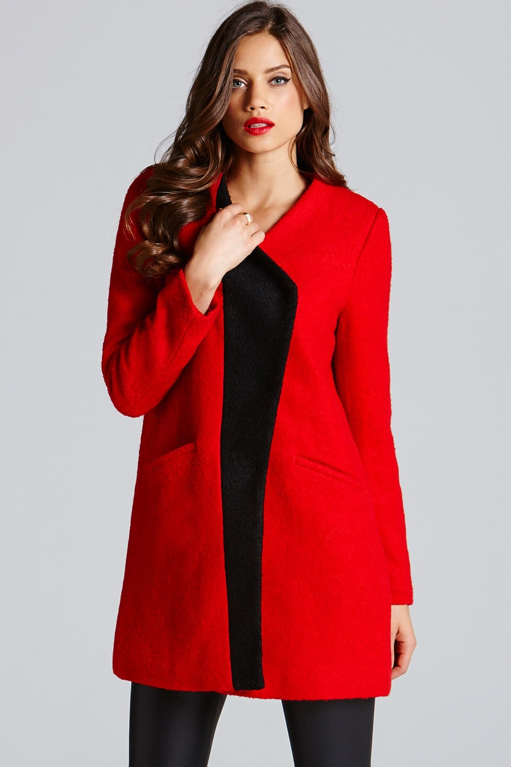 Little Mistress Red Contrast Lapel Wool Coat - Little Mistress ...