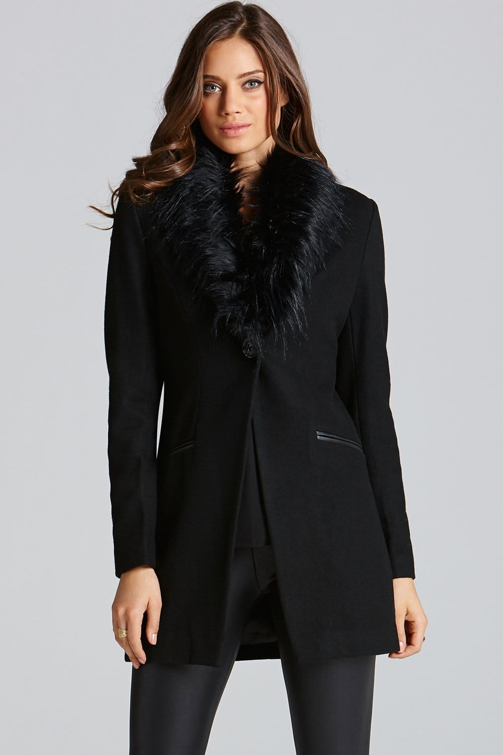 Little Mistress Black Faux Fur Collared Coat - Little Mistress ...