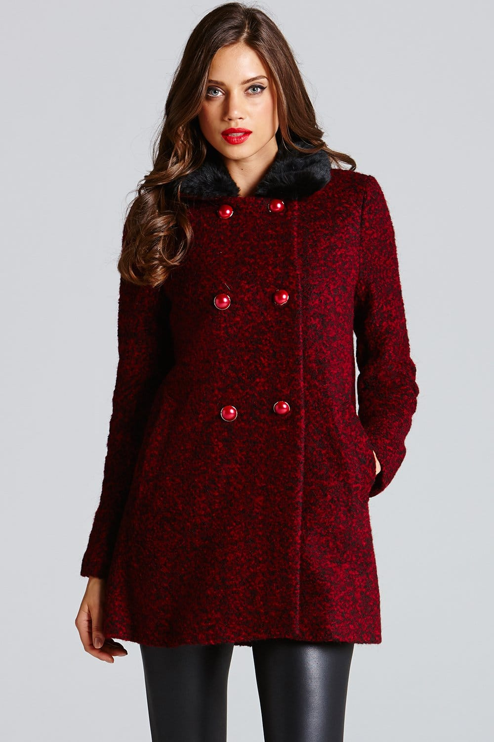 Little Mistress Red and Black Faux Fur Collar coat - Little