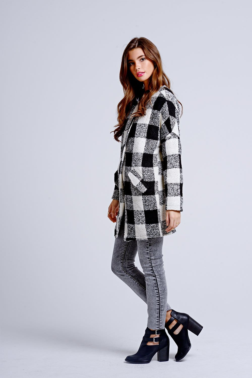 Girls On Film Black And White Check Cape Coat Girls On Film From