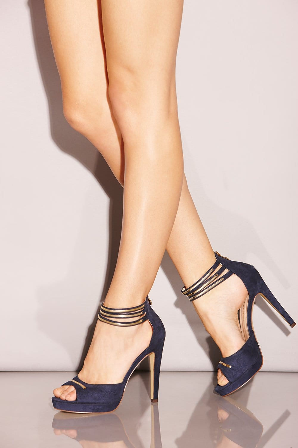 Little Mistress Navy Double Ankle Strap Peep Toe Heels