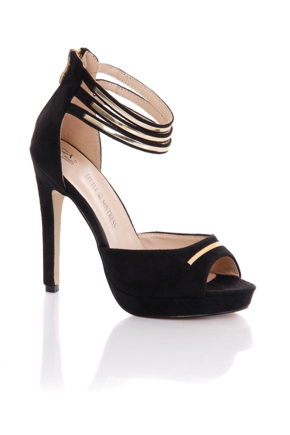 Little Mistress Black Double Ankle Strap Peep Toe Heels