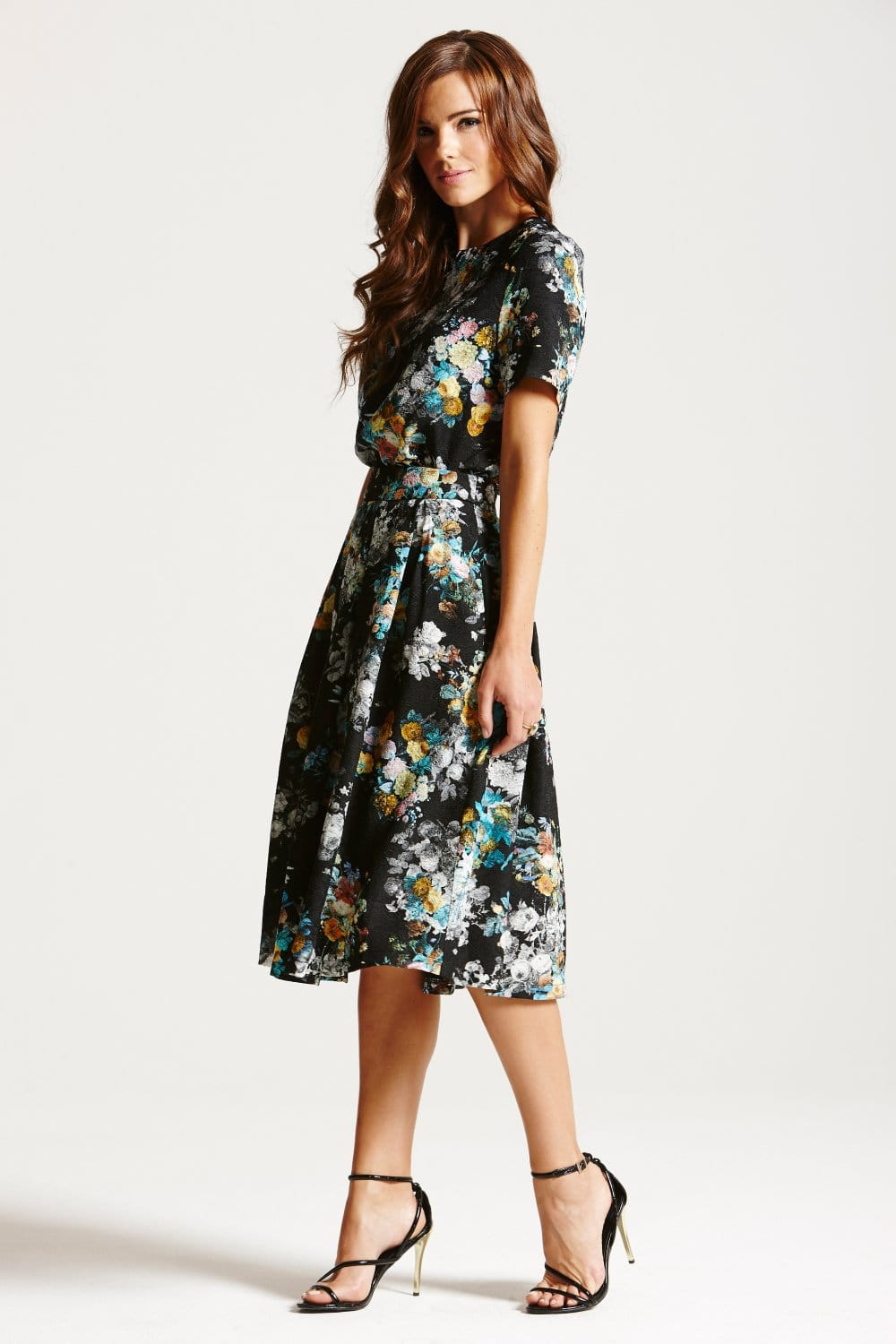 Pleated Floral Midi Skirt - Dress Ala
