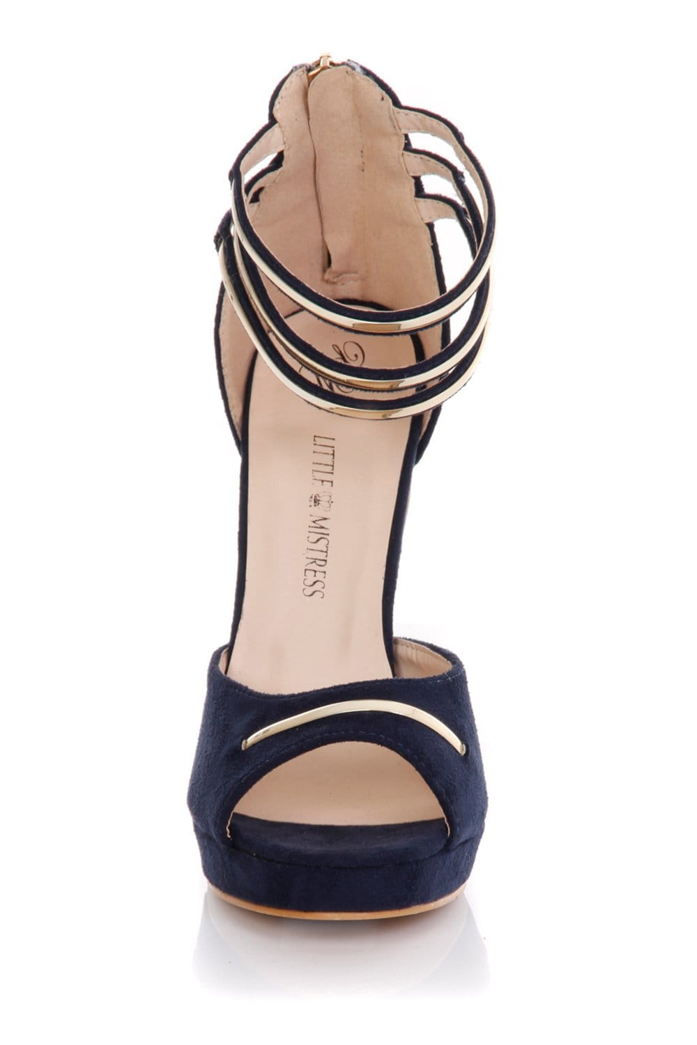 Navy Heels With Ankle Strap