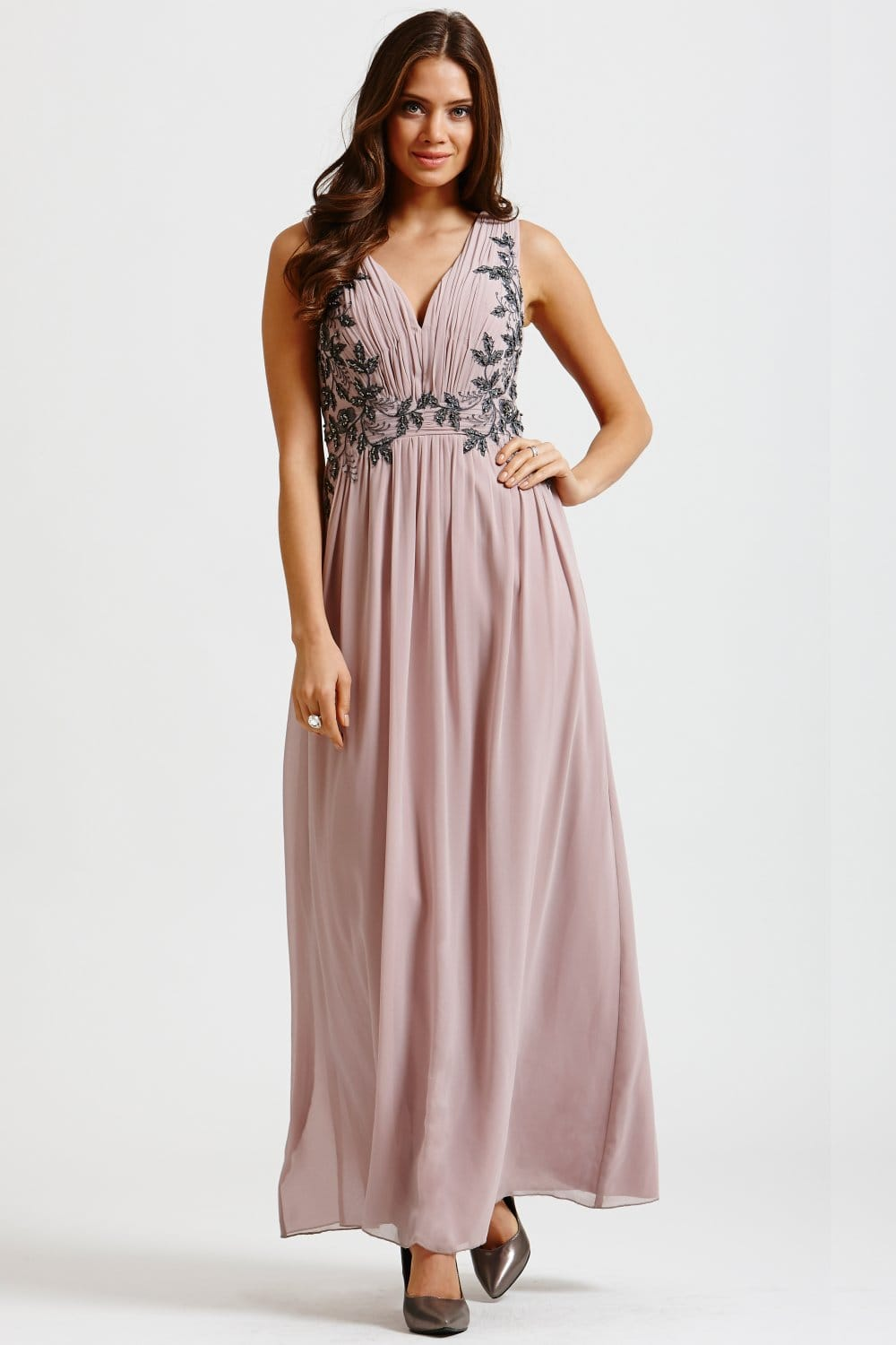 Cream Chiffon Leaf Embellished Maxi Dress - from Little Mistress UK