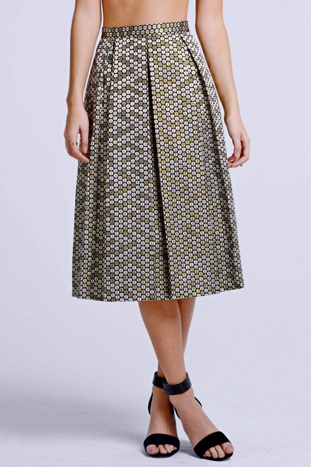 Girls on Film Gold Metallic Sequin Effect A-Line Skirt - Girls On ...