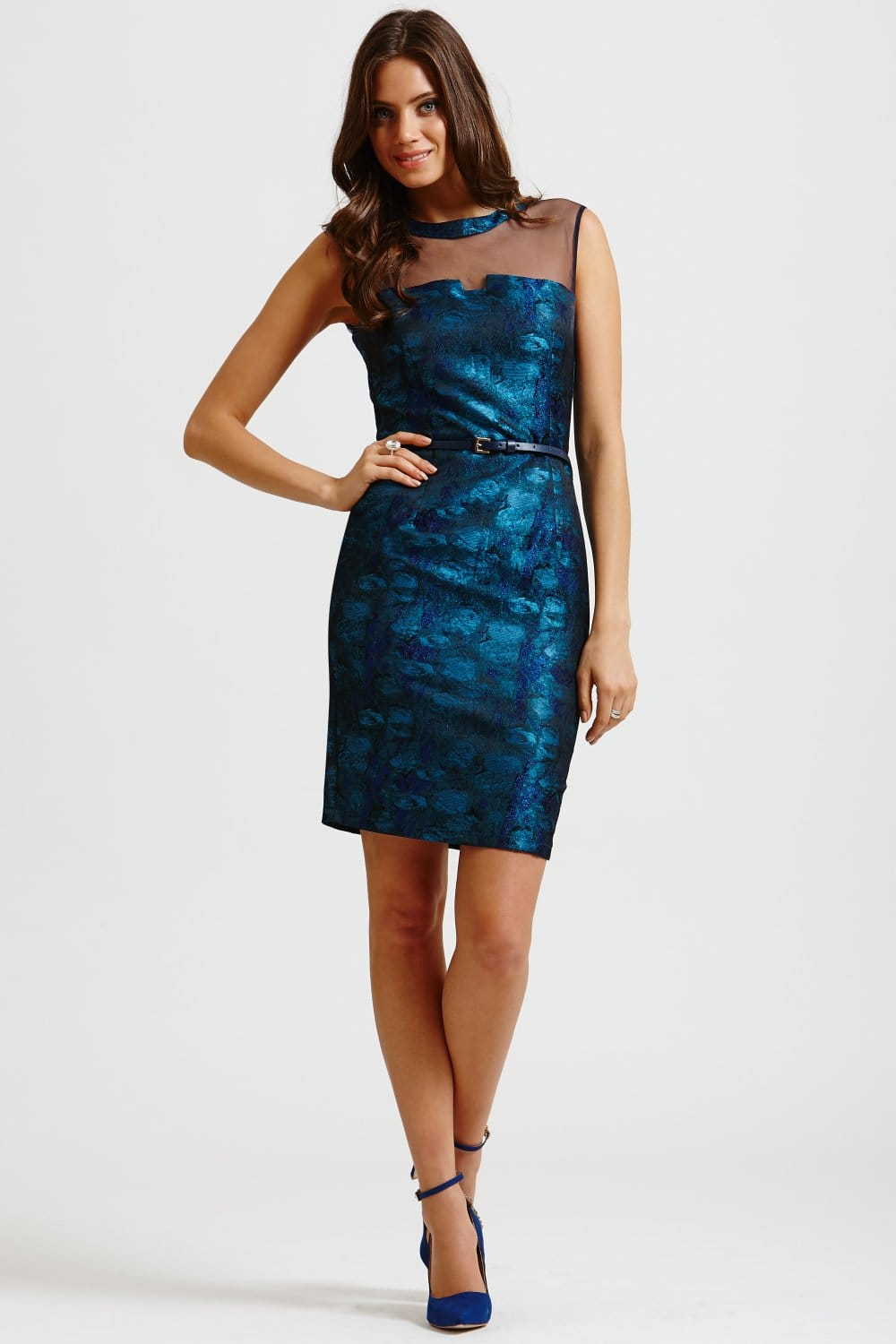 blue watercolour belted wiggle dress from uk