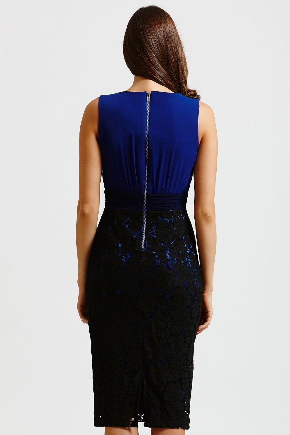 blue and black lace skirt wiggle dress from