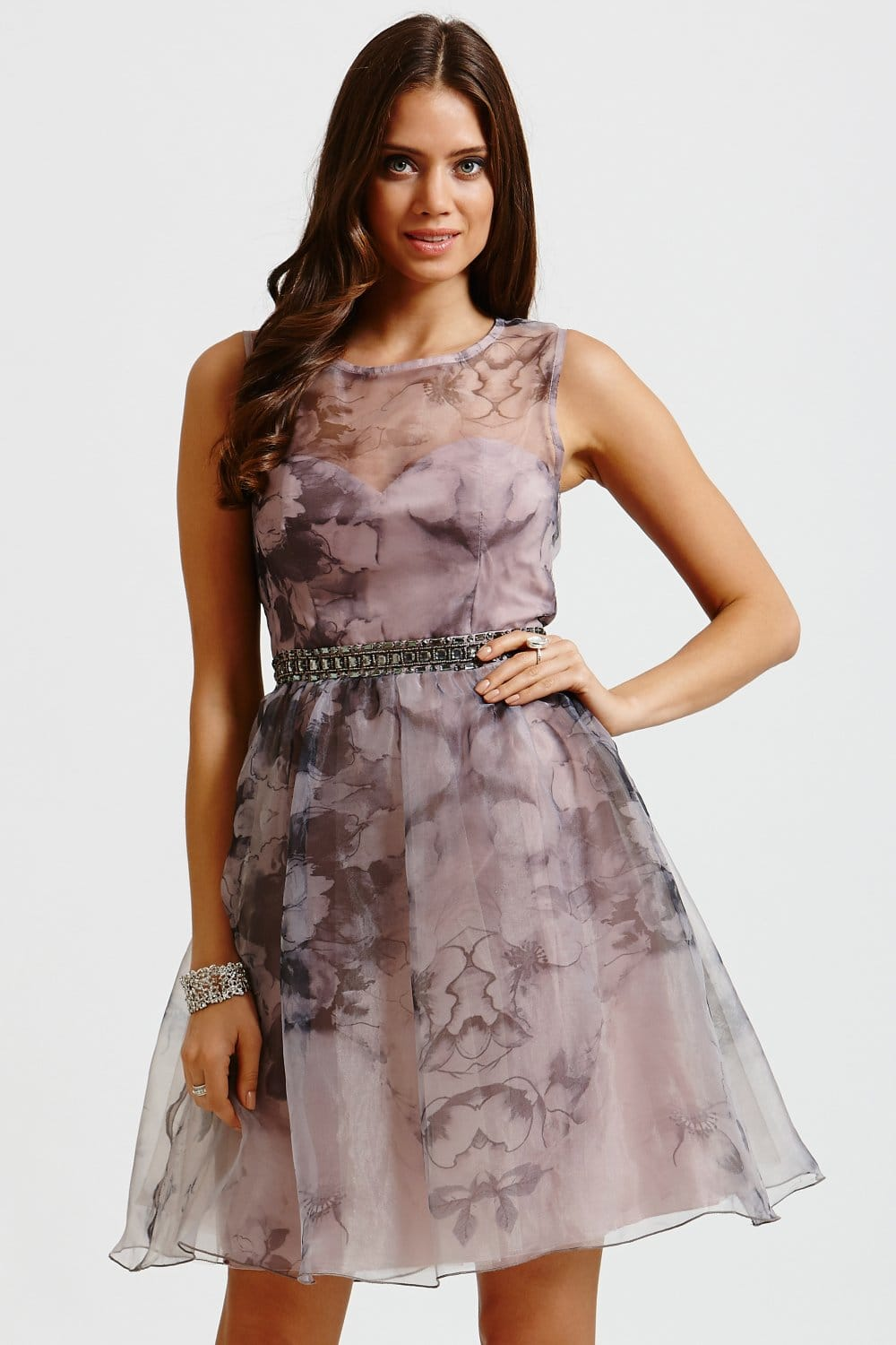 Little Mistress Muted Floral Mesh Panel Fit And Flare