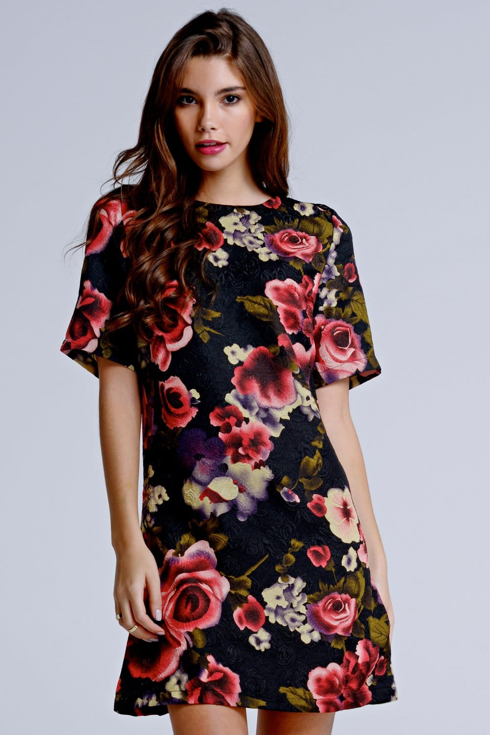 Outlet Girls On Film Pink Textured Rose Print Tunic Dress