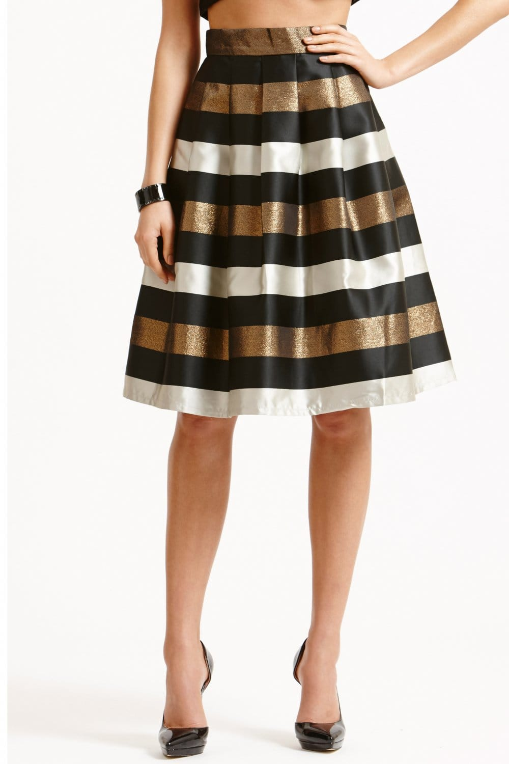 Little Mistress Striped Black White and Bronze A Line Skirt ...