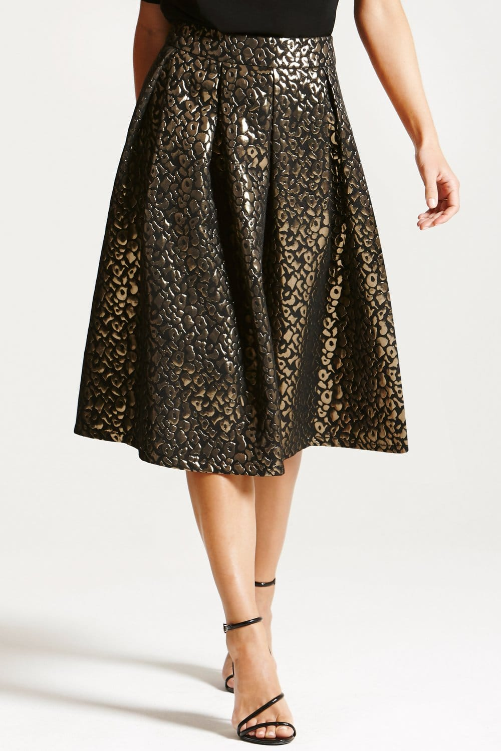 Paper Dolls Metallic Leopard Print A Line Skirt - Paper Dolls from ...