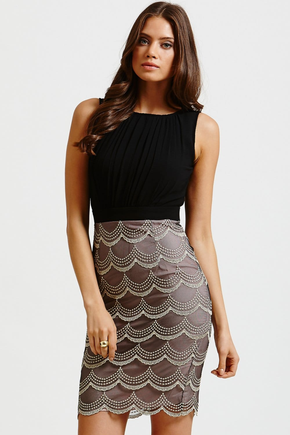 Little Mistress Black and Gold Scalloped Skirt Dress - Little ...