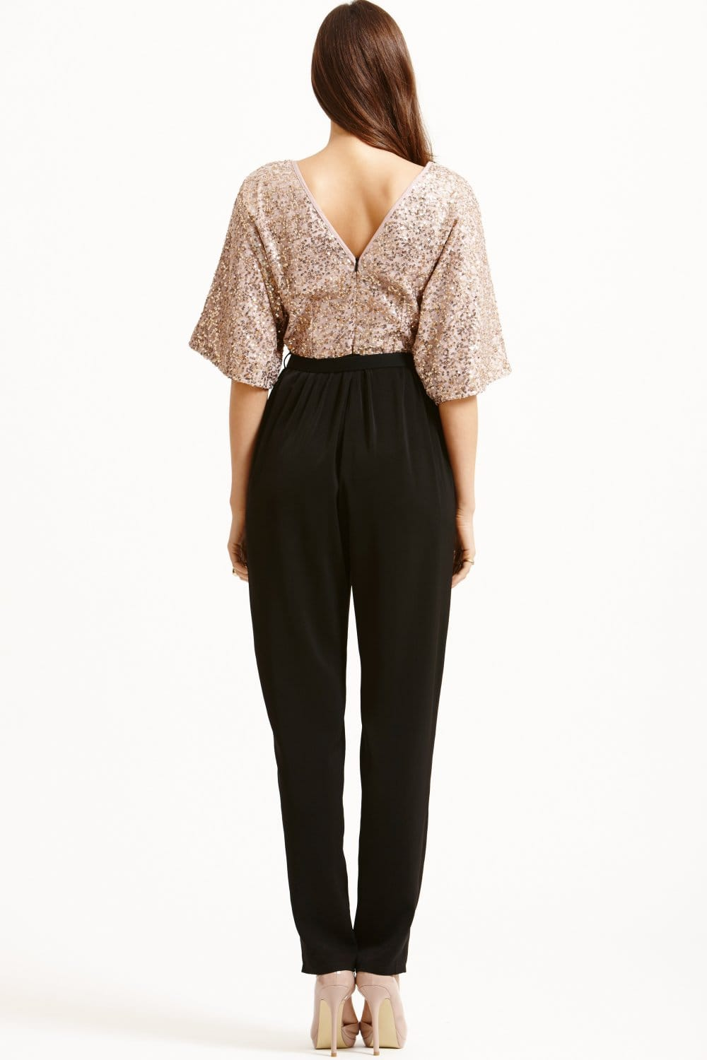 Gold and Black Sequined Jumpsuit - from Little Mistress UK