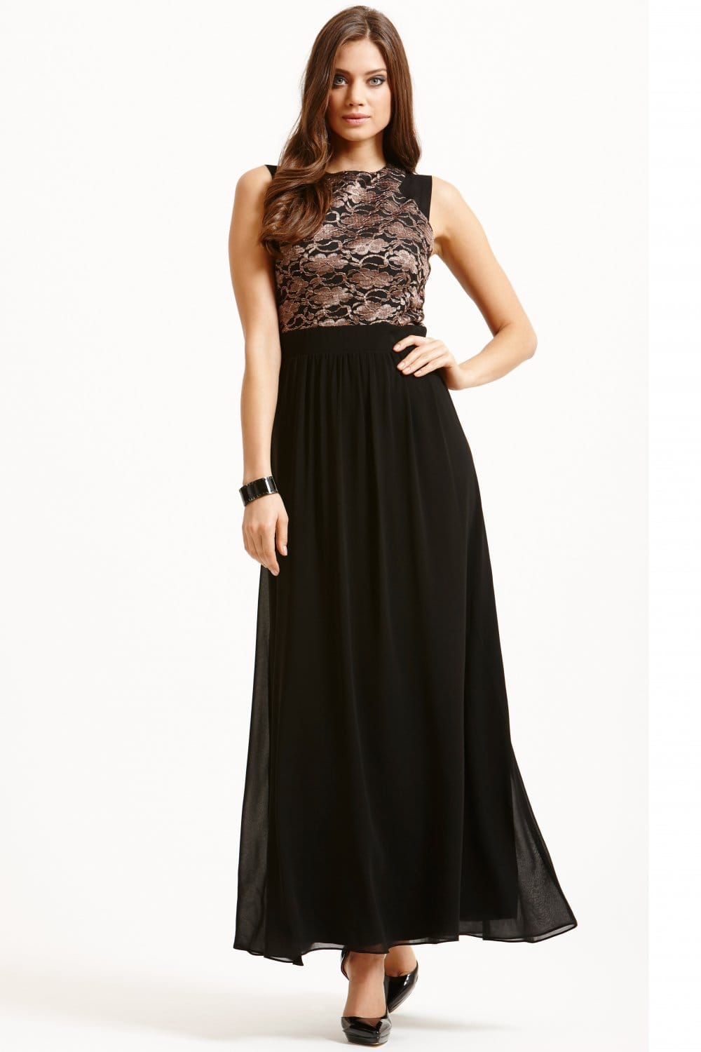 Little Mistress Black Metallic Lace Maxi Dress Little