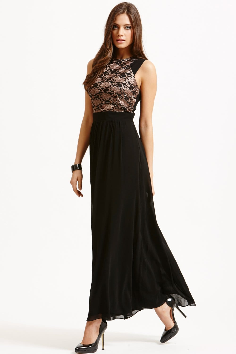 Little Mistress Black Metallic Lace Maxi Dress - Little Mistress ...