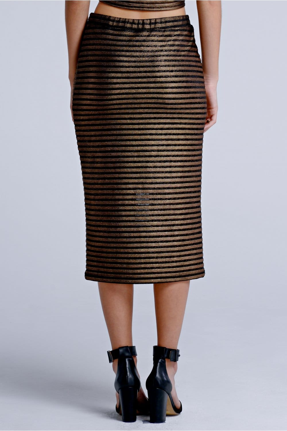 Outlet Girls On Film Black and Gold Stripe Midi Skirt - Outlet ...