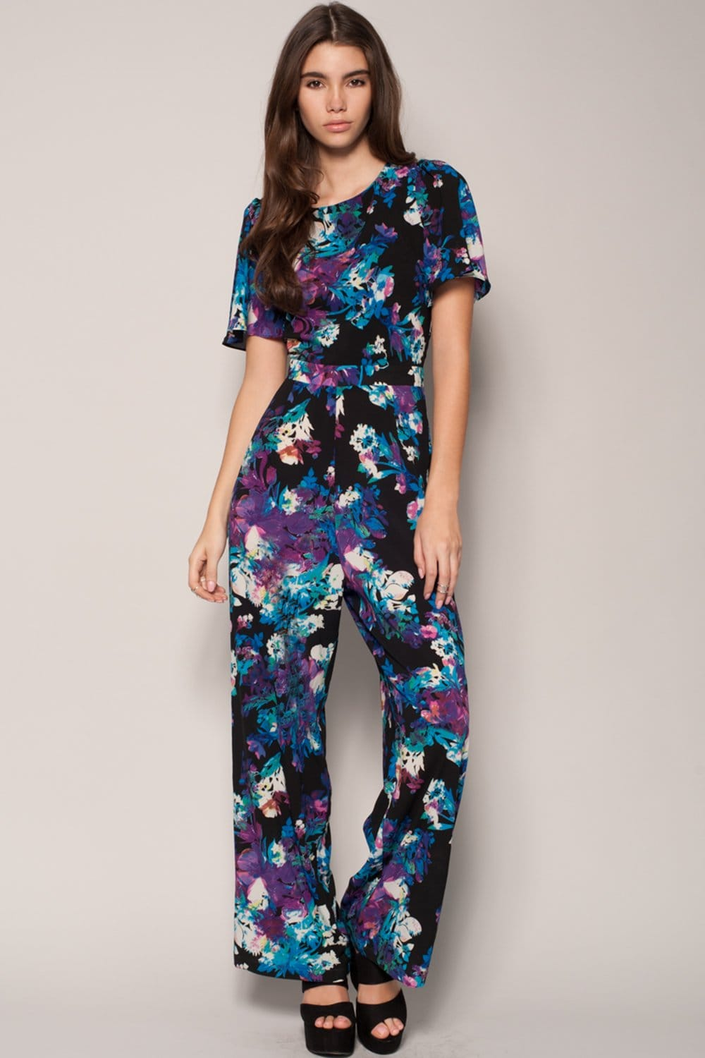 Outlet Girls On Film Blue Floral Cut Out Jumpsuit - Outlet Girls On Film From Little Mistress UK