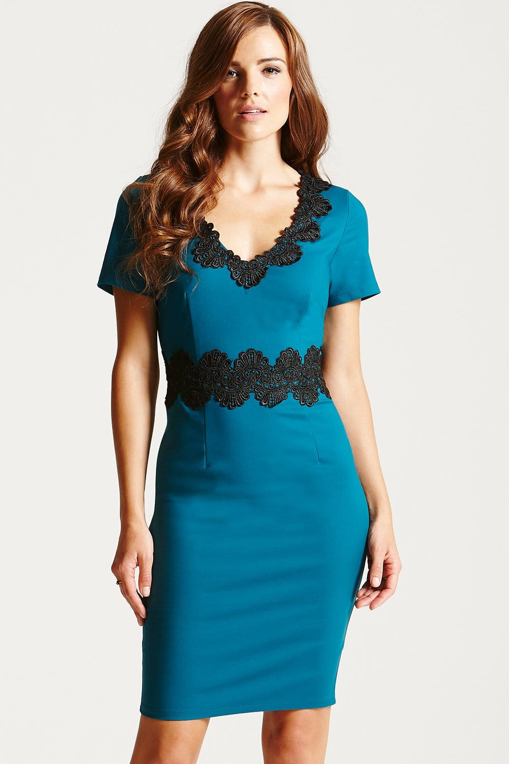Paper Dolls Teal and Black Lace Trim Wiggle Dress
