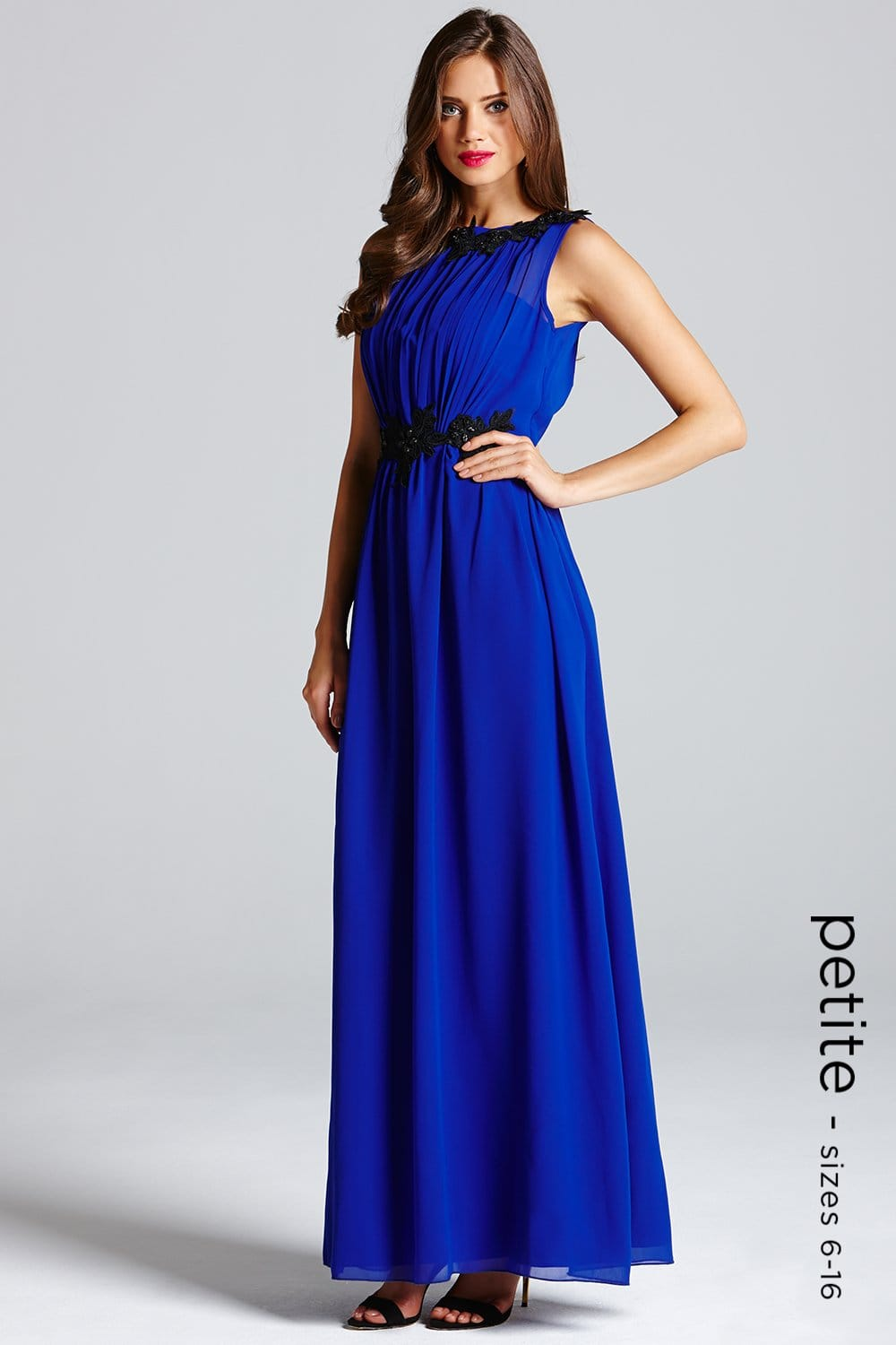 Petite Blue Floral Embroidered Chiffon Maxi Dress From