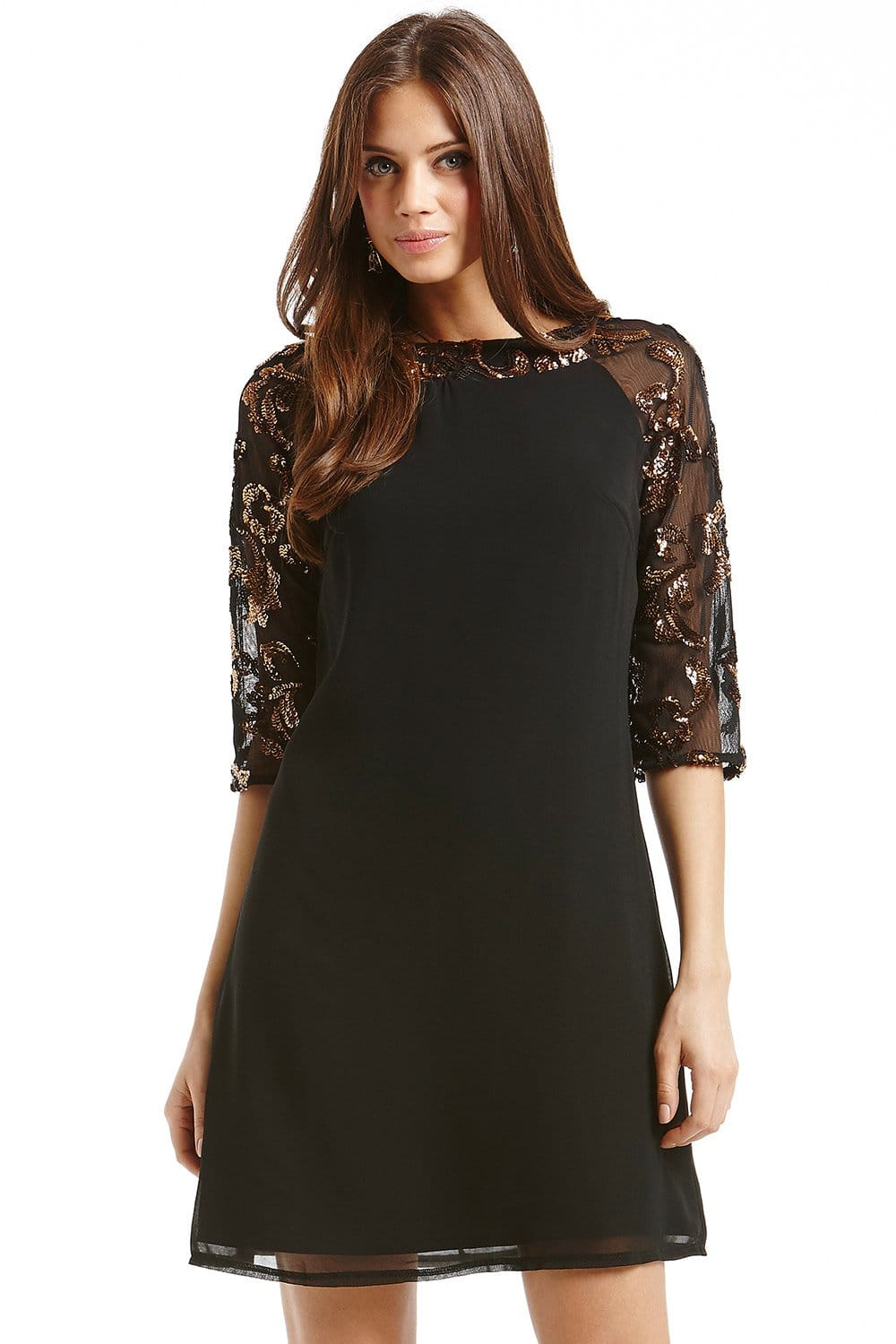 Black and Metallic Sequin Tunic Dress - from Little Mistress UK