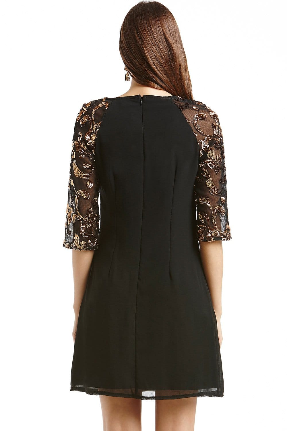 Black And Metallic Sequin Tunic Dress From Little