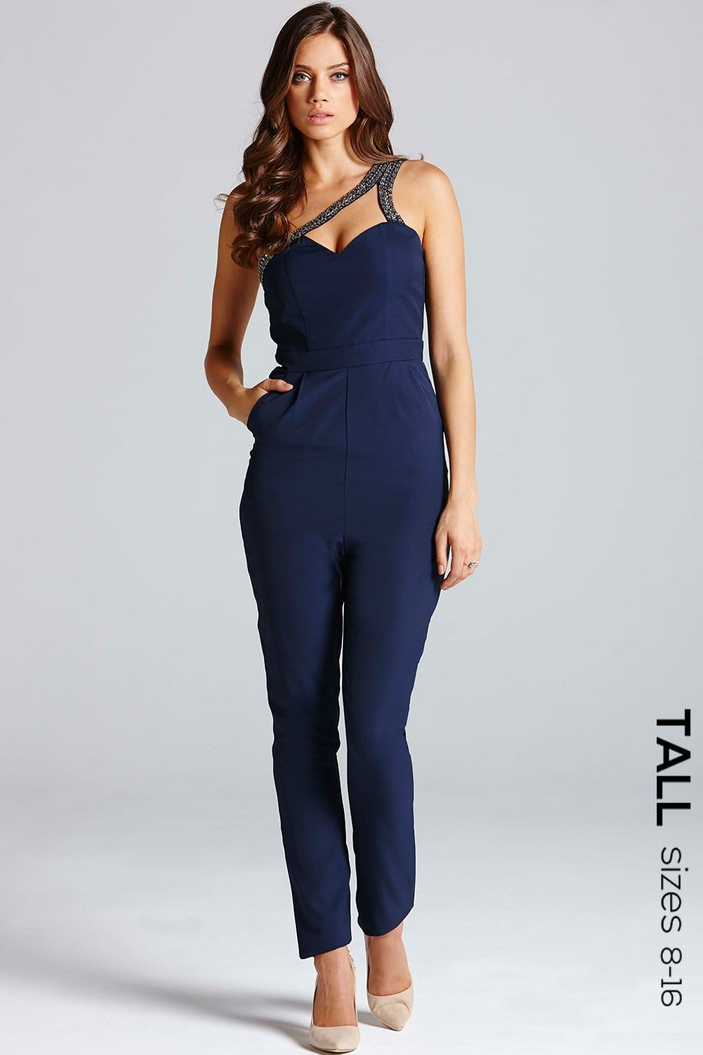 Navy One Shoulder Cut-Out Jumpsuit - from Little Mistress UK