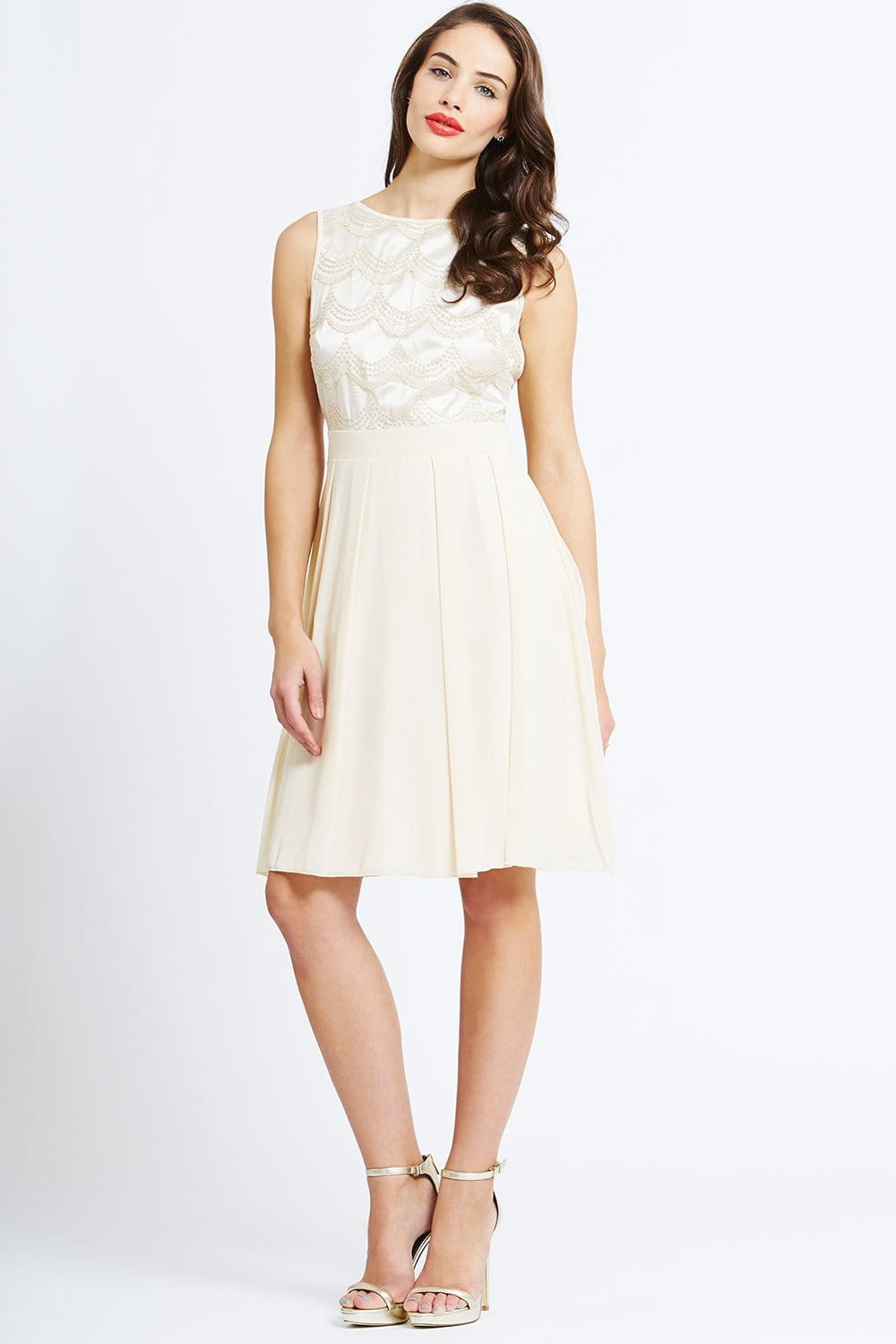 Cream Floral Lace Applique Fit And Flare Dress From