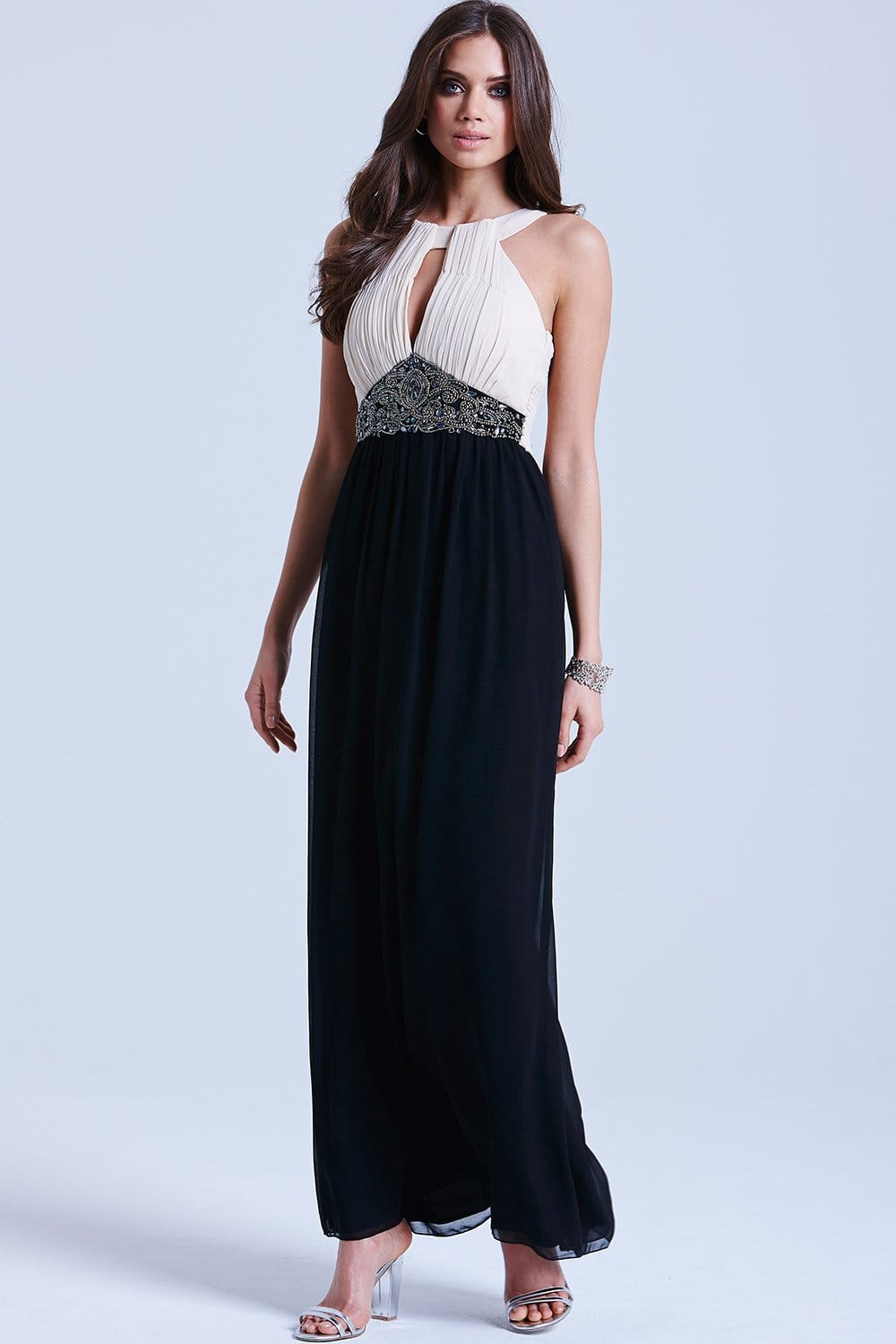 Little Mistress Black & White Embellished Maxi Dress - Little ...