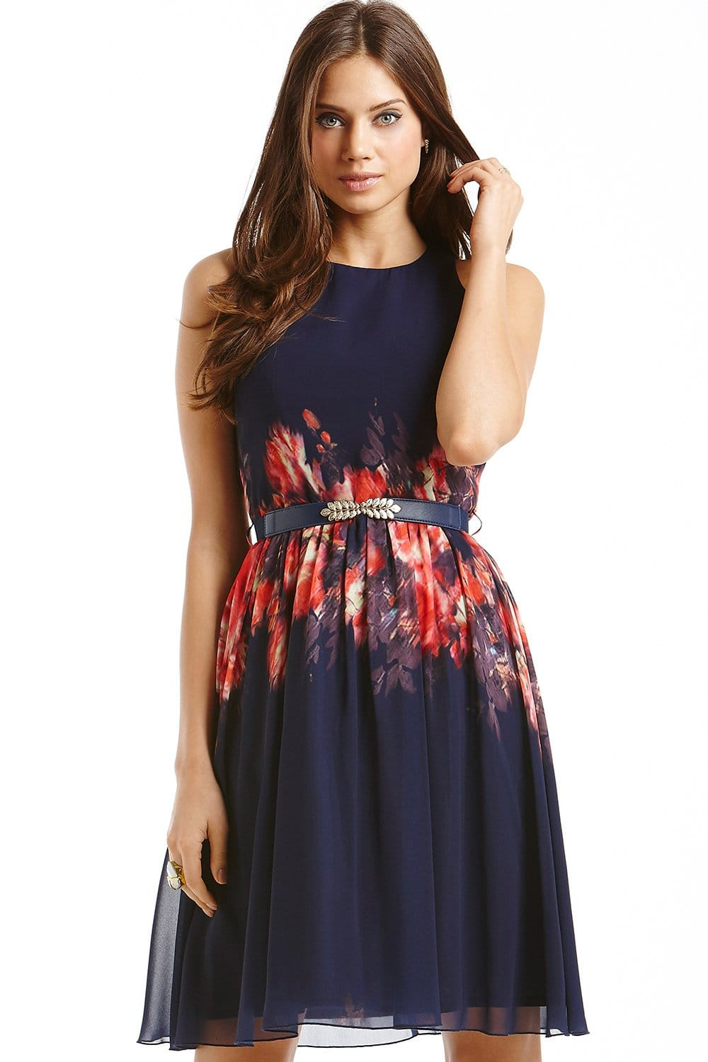 Navy Blurred Floral Belted Fit And Flare Dress From