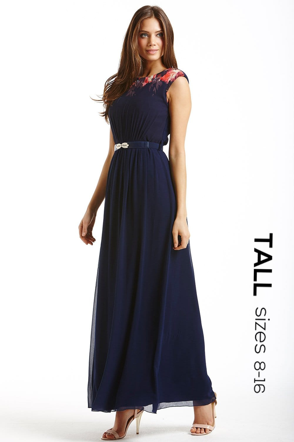 Tall Navy Blurred Floral Chiffon Maxi Dress - from Little Mistress UK