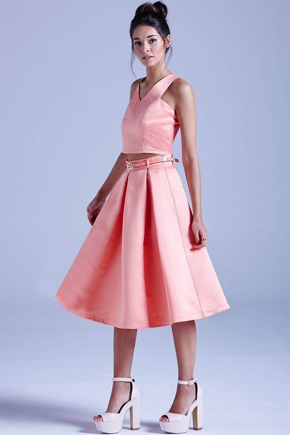 Outlet Girls On Film Coral Structured Midi Skirt With Belt ...