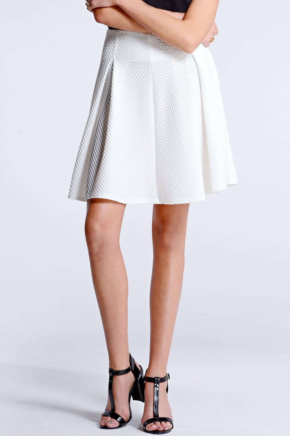 Outlet Girls On Film White Textured Mini Skater Skirt - Outlet ...