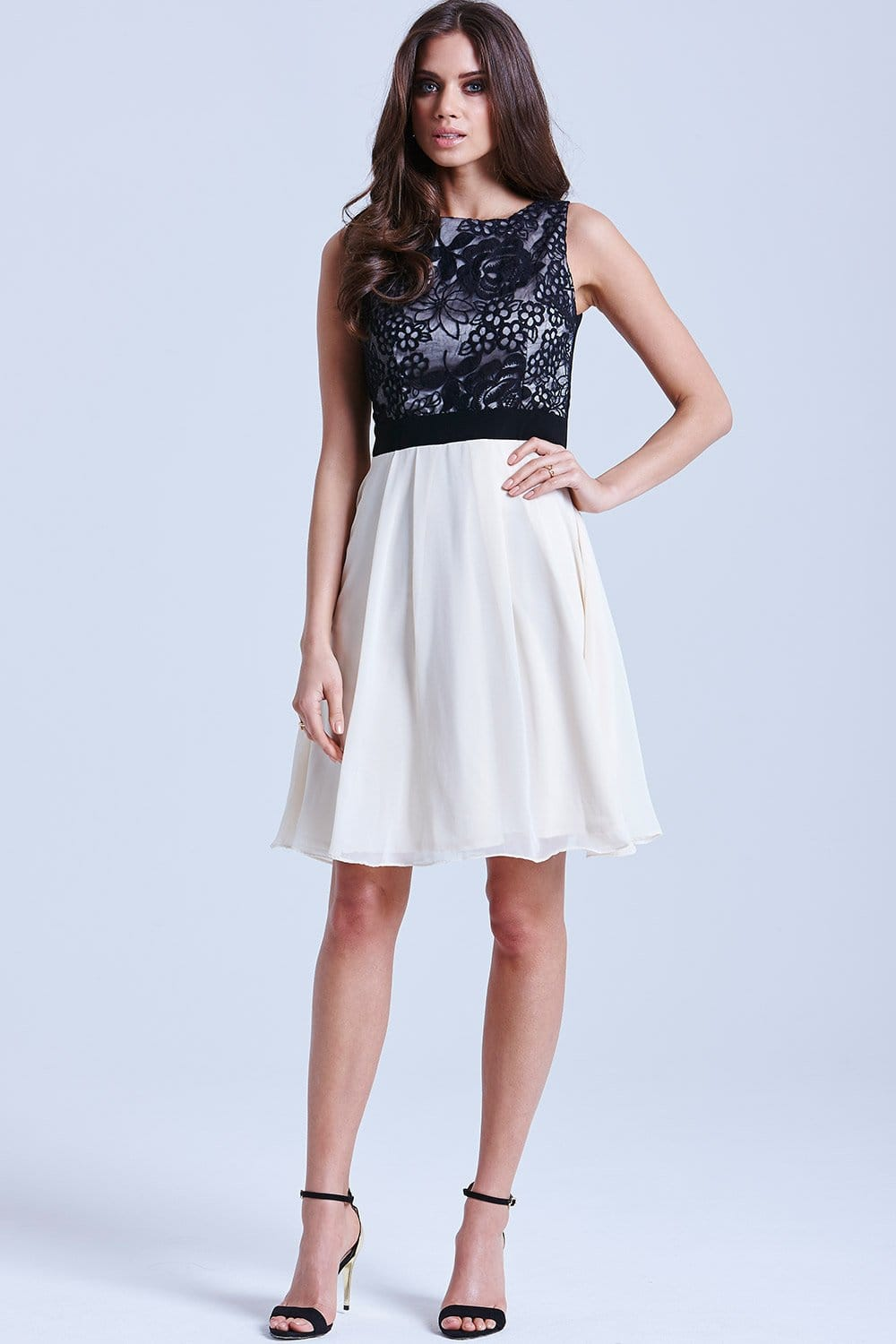 Cream And Black Fit And Flare Floral Dress