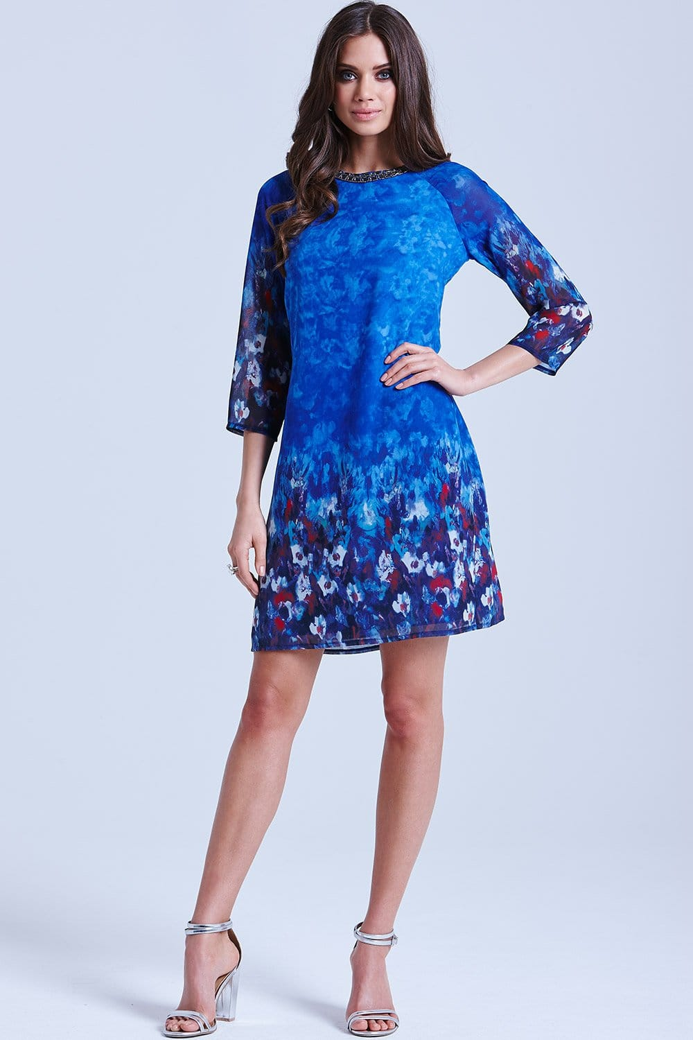Blue Water Paint Floral Tunic Dress From Little Mistress Uk
