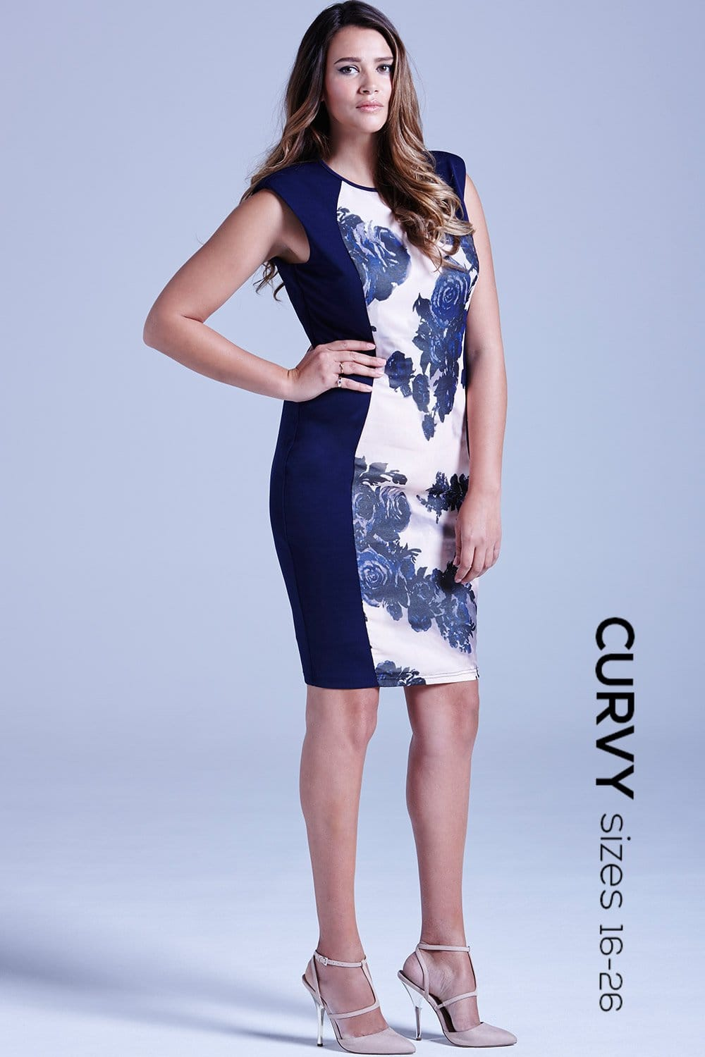 curvy navy panelled floral front dress