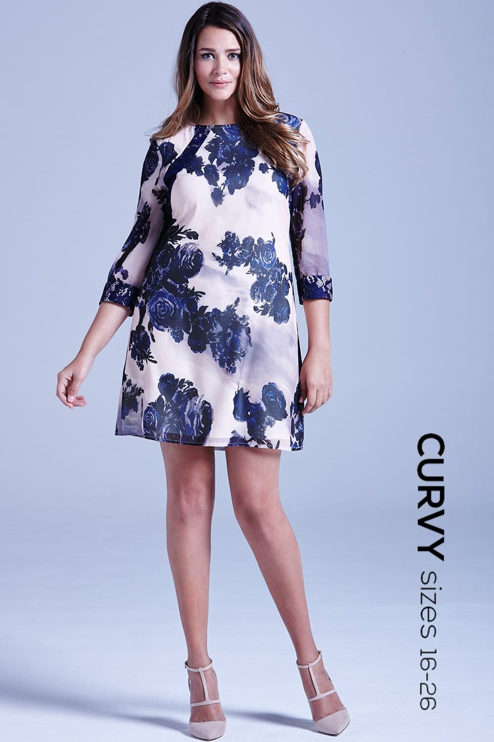 curvy curvy and navy sheer floral