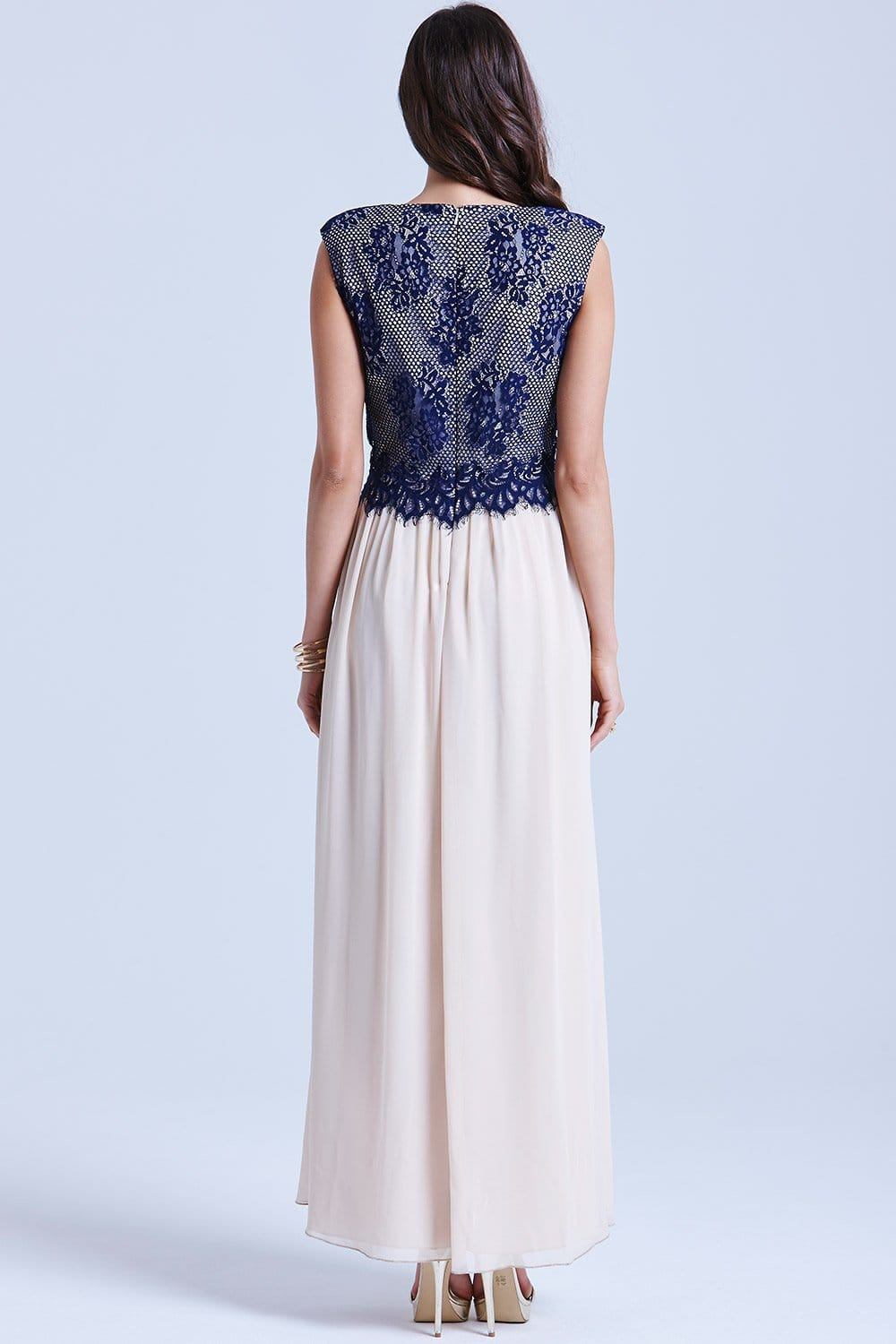 Cream And Navy Lace Overlay Maxi Dress