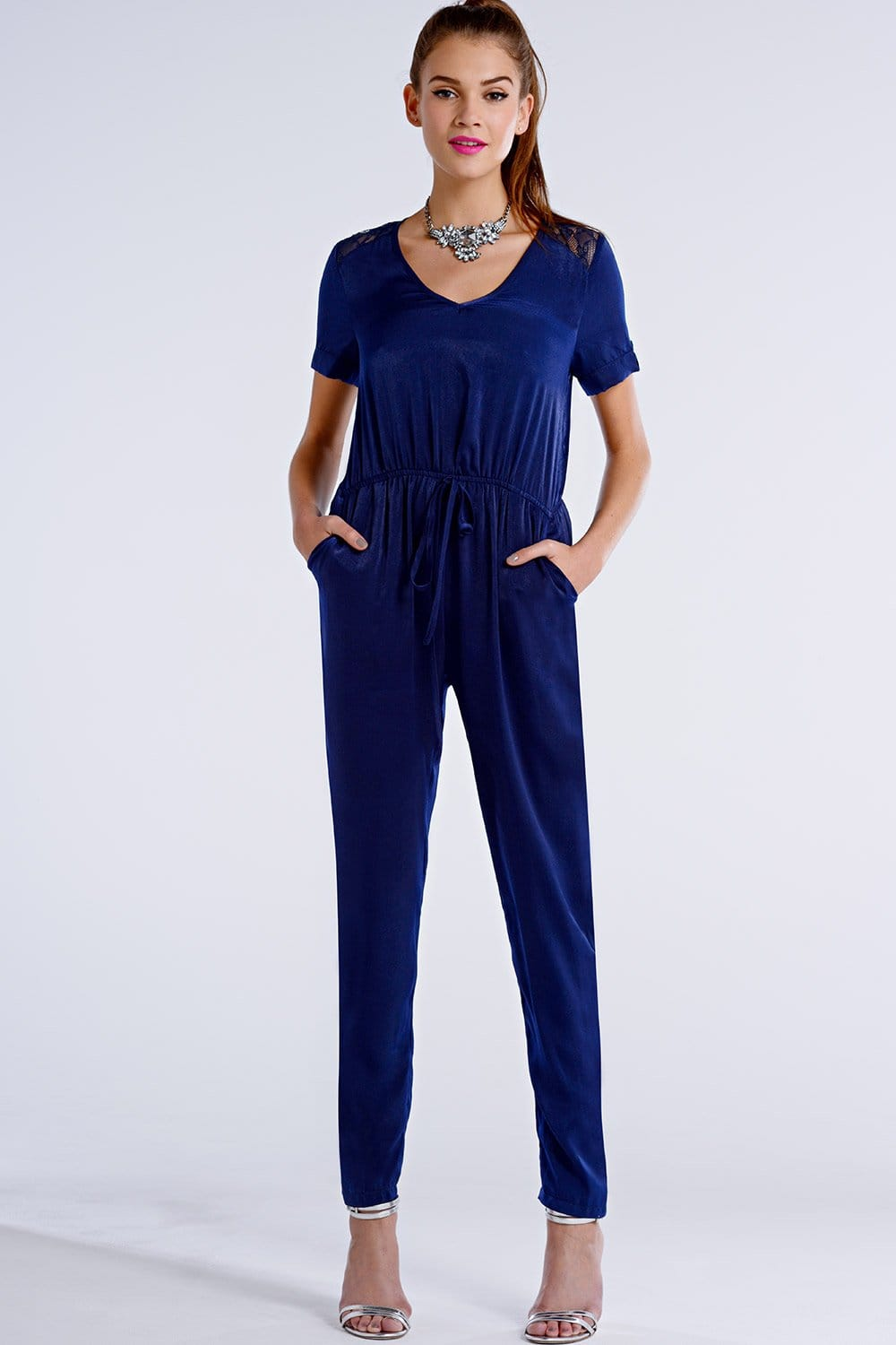 Outlet Girls On Film Navy Satin Drawstring Lace Insert Jumpsuit - Outlet Girls On Film From ...