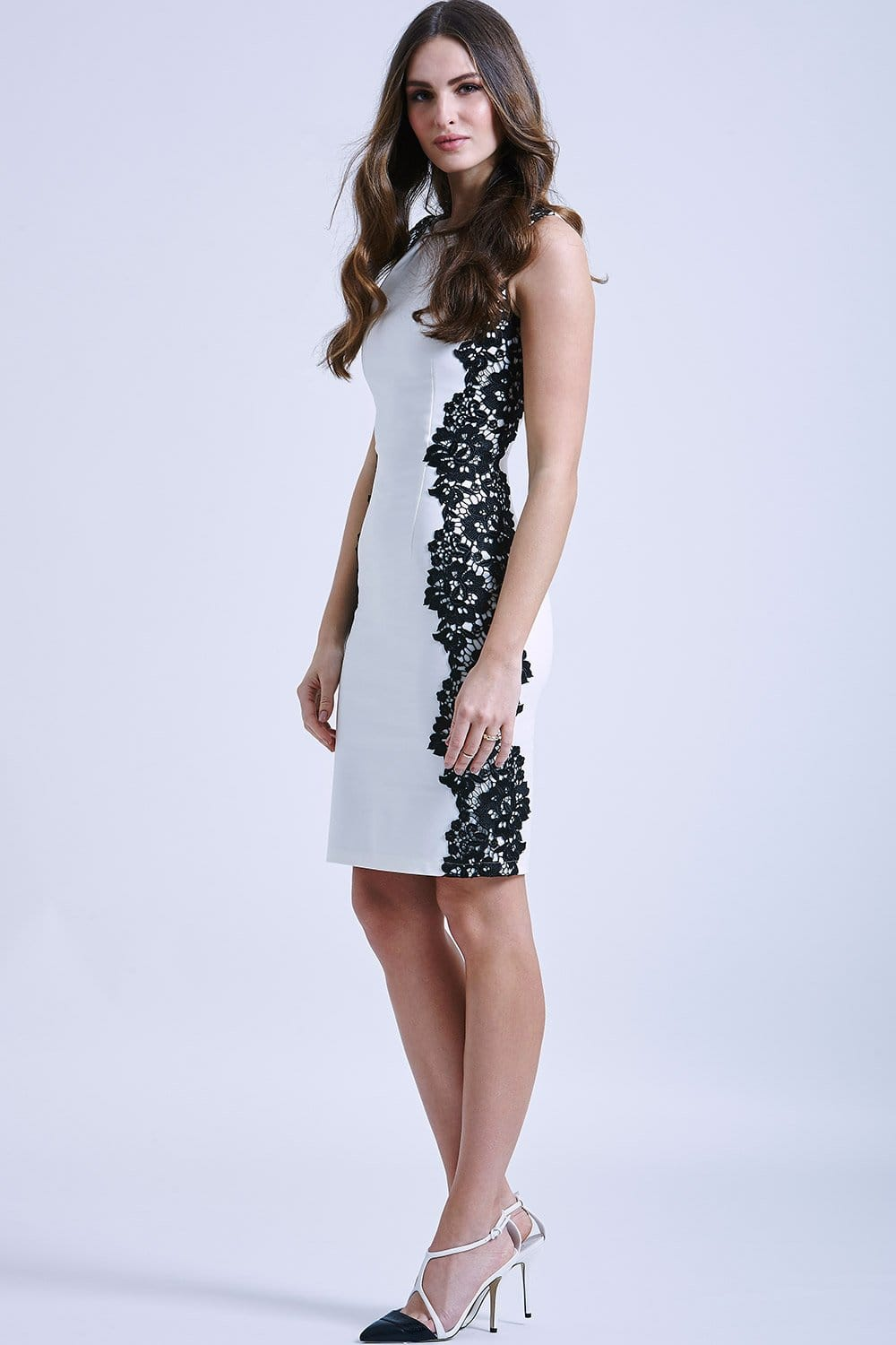 White and Black Sleeveless Lace Dress