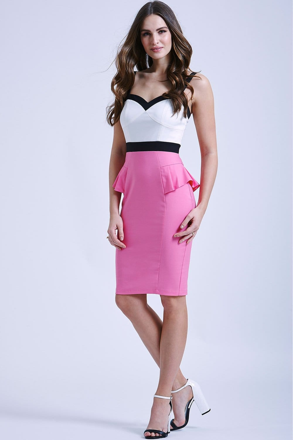 White, Pink and Black Peplum Dress