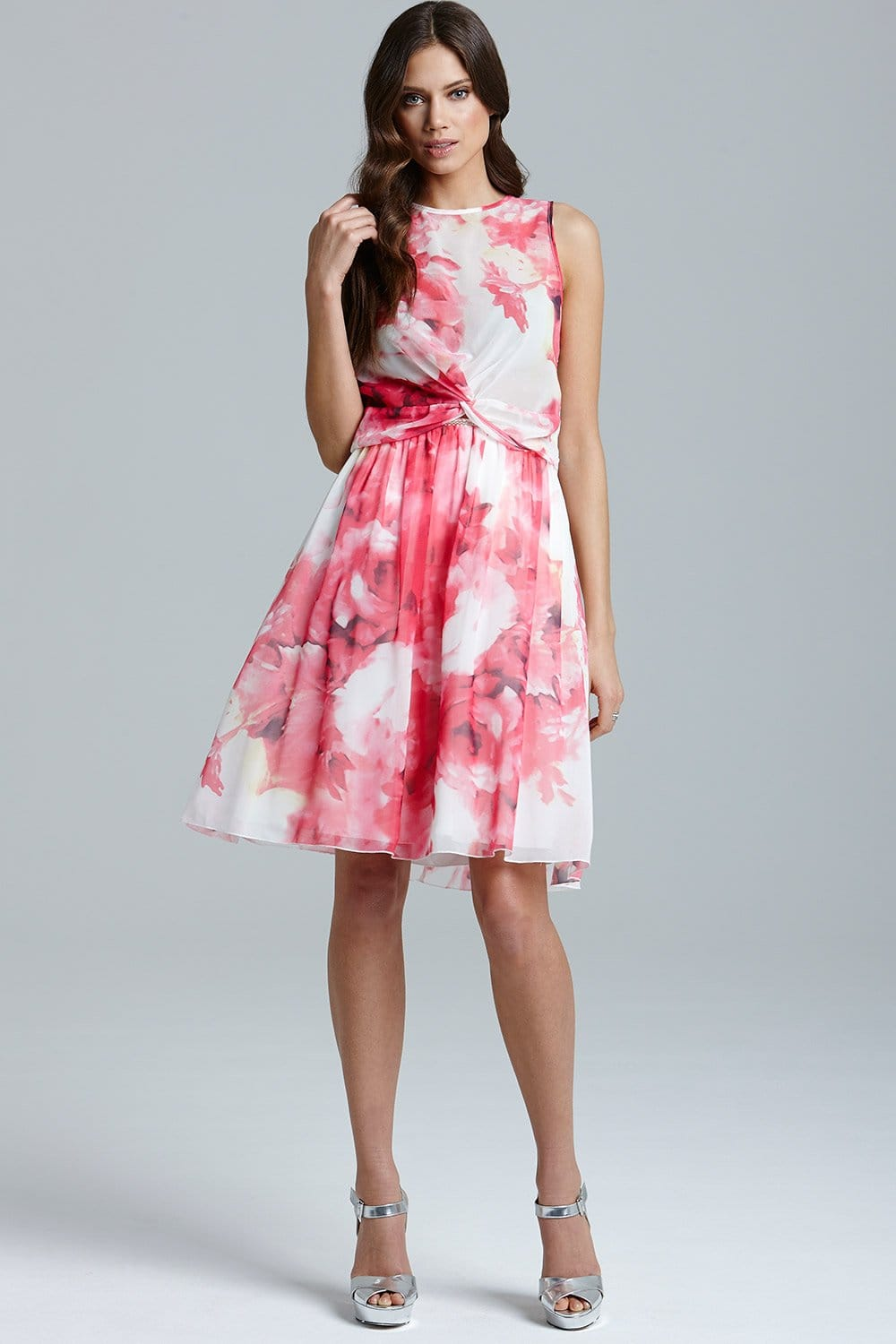 Pink Floral Print A Line Skirt - from Little Mistress UK